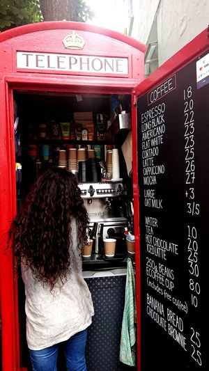 Latte Cappuccino Coffee Shop Tiny Unusual Retail  Telephone Box Customer  Standing Retail  Red Consumerism Working Rear View Store Business Finance And Industry For Sale Retail Display