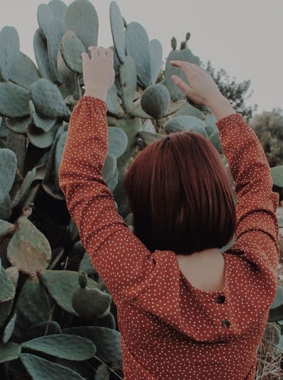 Plant Green Nature Women Close-up Dyed Red Hair Posing Redhead Plant Life Cactus Blooming