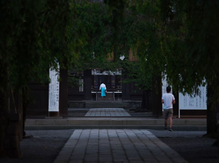 Holy atmosphere⛩ Simple Quiet Love EyeEm Best Shots Japan M.ZUIKO DIGITAL Lumix G9 Shinto Shrine Cobblestone Green Color Tree People Tranquil Scene Tranquility Scenics Two People Outdoors Shirine Plant Real People Rear View Architecture