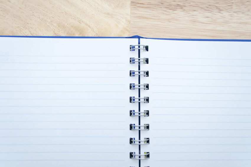 Day Directly Above Education Lined Paper No People Note Pad Paper Ring Binder Spiral Notebook Vertical Writing