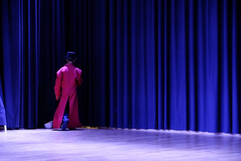 Rear View Of Man Standing On Stage