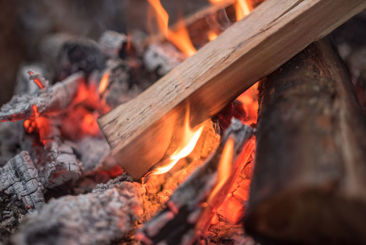 Close-Up Of Wood In Bonfire