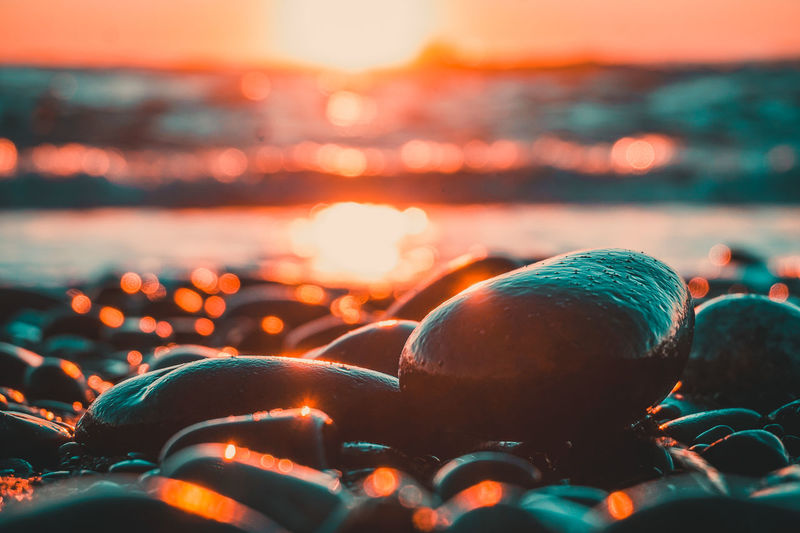 Evening sunset on the rocky beach. Calm Chilling Nature PNW Pacific Northwest  Peace Relaxing Rocky Beach Sunlight Beach Beauty In Nature Close-up Color Colorful Evening Golden Hour No People No People Outdoors Ocean Peaceful Relaxation Rock - Object Sea Sunset Water First Eyeem Photo Be. Ready. Perspectives On Nature