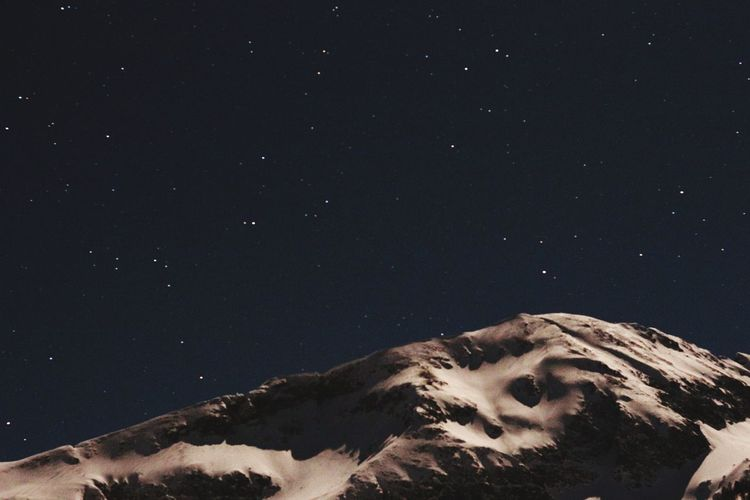 Night Mountain Snow Snowy Mountains Star - Space Human Body Part Night Nature Astronomy Constellation Close-up Galaxy Milky Way Beauty In Nature Space Sky Outdoors