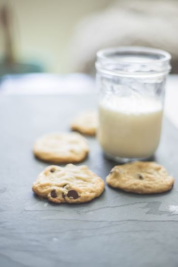 Chocolate Chip Cookie Homemade Tollhouse Food And Drink Food Cookie Milk Drink Refreshment Freshness Drinking Glass Dairy Product Baked Indoors  No People Still Life Close-up Indulgence Glass