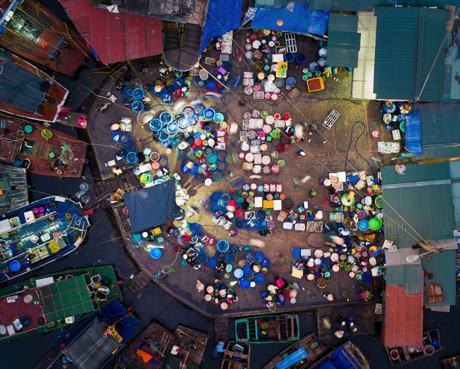 Bai Tu Long Bay Drone  Market Abundance City Crowd Day Directly Above Drone Photography Dronephotography Fish Fish Market Gambling Chip High Angle View Indoors  Large Group Of Objects Large Group Of People Market Multi Colored People Retail