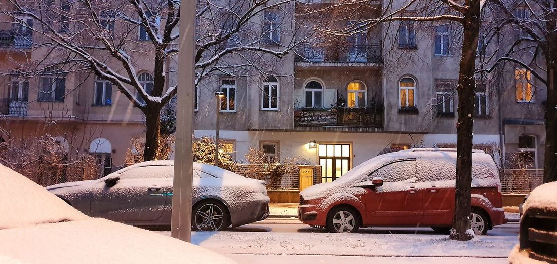 Street and buildings in city during winter