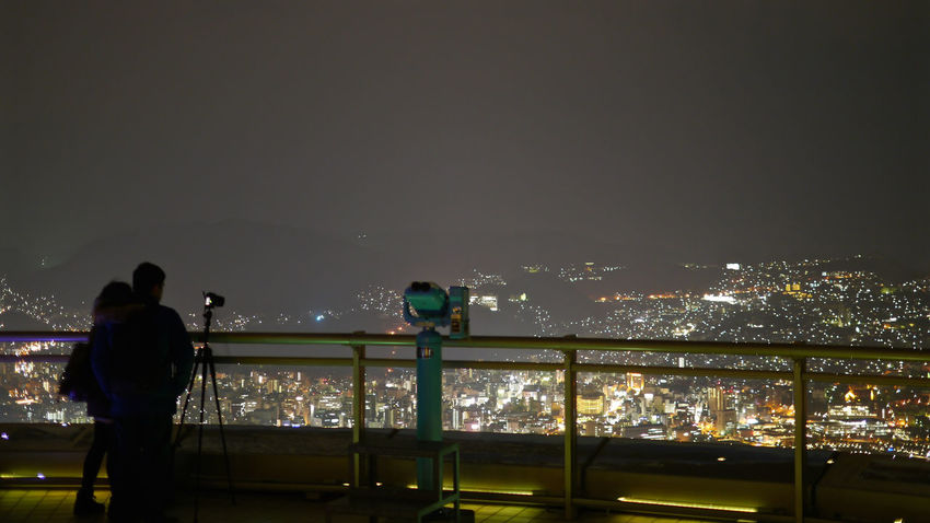 Open Aperture / Night photographer : Mt.Inasayama Observatory ( sea level 333 mater ) Nagasaki Photos edit : Data ISO160 50mm SS : 1.3 sec Handheld Exposure de Good Night 16:9 Crop Citylights Cityscape Nightphotography No Filter Panasonic Lumix GX1 LEICA D SUMMILUX 25mm Silhouette Walking Around Taking Pictures 稲佐山展望台 - Stainless Nagasaki -