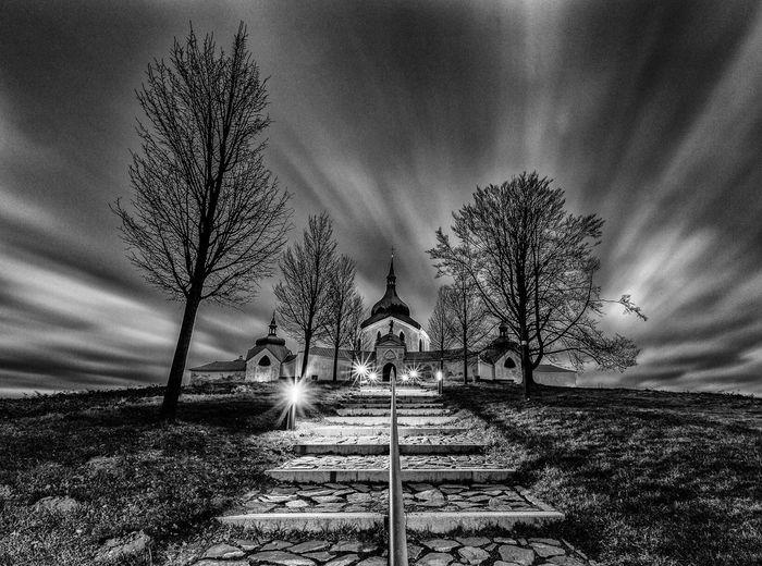 ZdarnadSazavou Czech Republic UNESCO World Heritage Site Zelenahora Architecture Blackandwhite My Country In A Photo Church