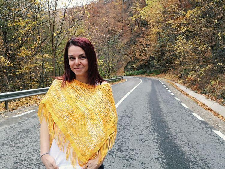 EyeEm Selects Tree Portrait Young Women Road Women Beautiful Woman Looking At Camera Yellow