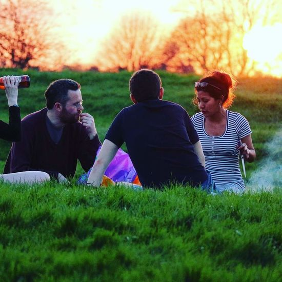 Friendship Togetherness Sunset Cheerful Picnic