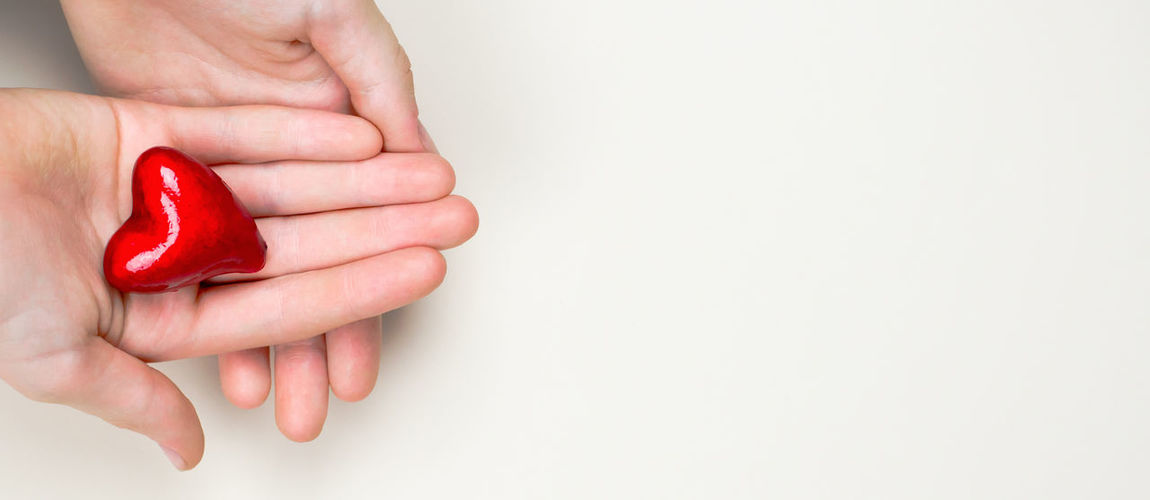 High angle view of hand holding red over white background