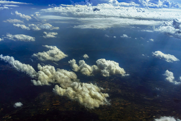 Cloud - Sky Beauty In Nature Sky Nature No People Scenics - Nature Day Aerial View Outdoors Airplane Airline Tranquility Tranquil Scene Non-urban Scene Idyllic Backgrounds Full Frame Cloudscape Water Environment Sunlight White Color Softness Meteorology Above