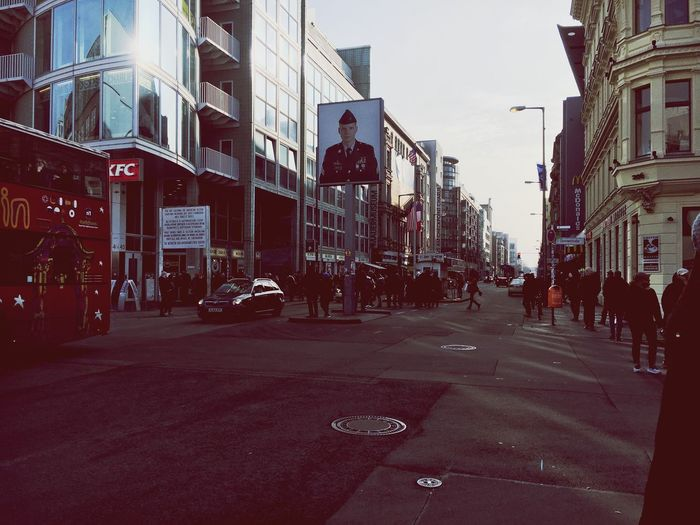 Berlin Checkpointcharlie Building Exterior Built Structure Street Large Group Of People Road City