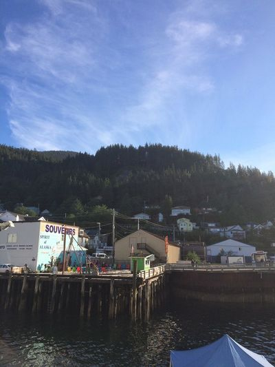 A sunny day outside the dock of Ketchikan, Alaska Sky Built Structure Architecture Water Building Exterior Outdoors Day Nature Tree Tranquility Beauty In Nature Cloud - Sky No People Scenics Adapted To The City
