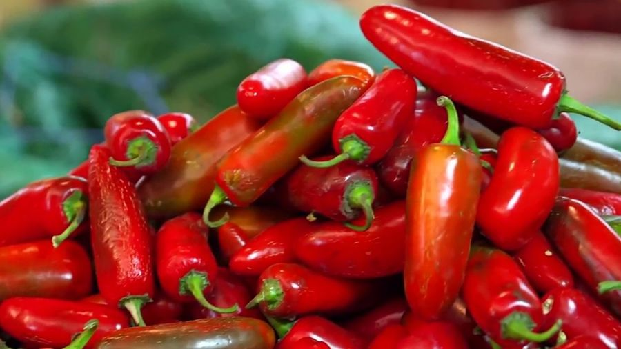 Close-up of red chili peppers for sale