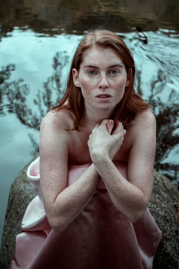 Only Women Beauty One Woman Only Portrait Beautiful Woman Water Young Adult People Looking At Camera Outdoors Dress Freckles Day Nature Color EyeEmBestPics Photography Photo Fineart Ginger Canon Women Redhead Fashion Fragility
