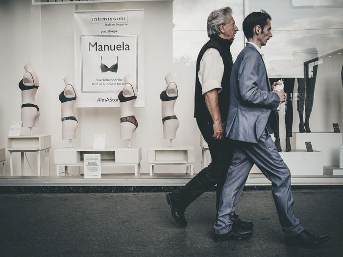 Back to back Casual Clothing Day Full Length Lifestyles Lingerie Mature Men Men Real People Standing Store The Street Photographer - 2017 EyeEm Awards Two People Adventures In The City The Street Photographer - 2018 EyeEm Awards
