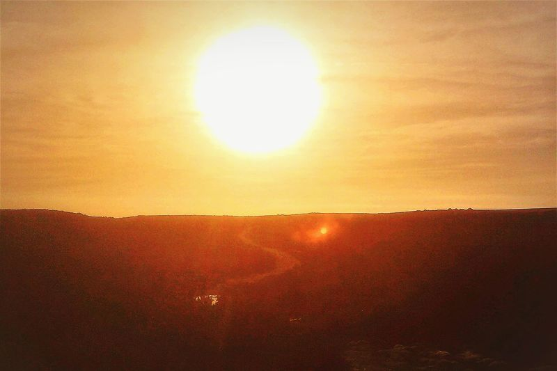 Low-lying sun over Studland Sun Sunset Orange Color Nature Sunlight No People Outdoors Rural Scene Agriculture Illuminated Day Summer Gold Colored Scenics Sky Heat - Temperature Beauty In Nature Landscape Yellow Tranquility Tranquil Scene Awe Silhouette Majestic Bright Sunbeam EyeEmNewHere