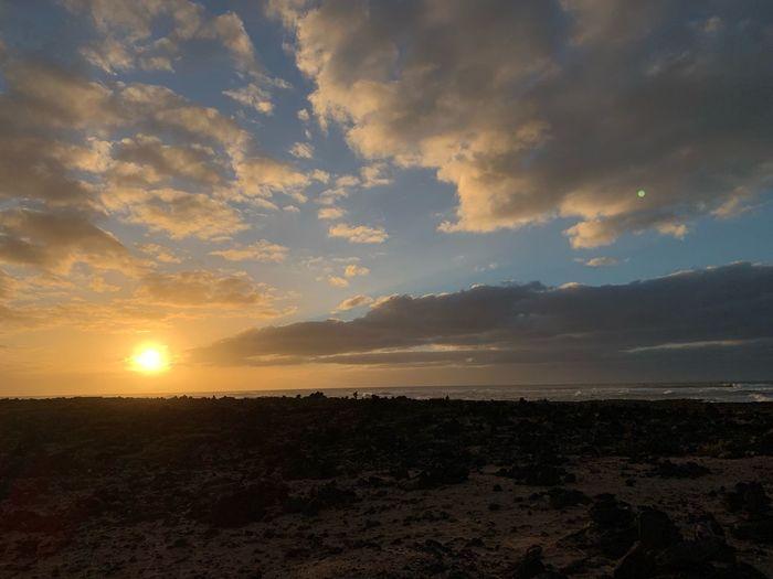 Fuerteventura Canary Islands Sky Sunset Scenics - Nature Beauty In Nature Cloud - Sky Tranquility Tranquil Scene Nature Land Idyllic Sea Environment No People Water Sun Beach Landscape Horizon Non-urban Scene Sunlight