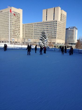 Skating at Rink of Dreams at City Hall, Ottawa.
