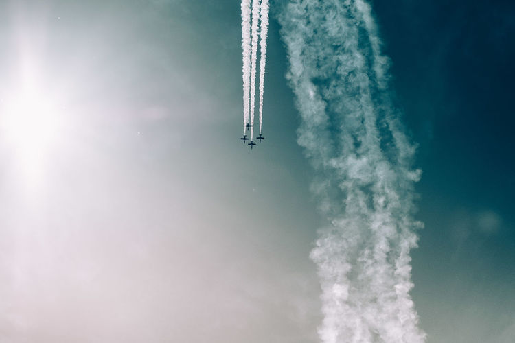 Aerobatics Aerospace Industry Air Vehicle Airplane Airshow Cloud - Sky Day Flying Low Angle View Mid-air Mode Of Transportation Motion Nature No People on the move Outdoors Plane Sky Smoke - Physical Structure Speed Trail Transportation Travel Vapor Trail