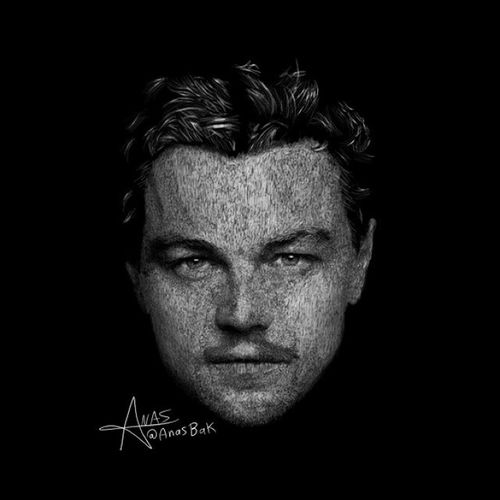 Drawing Face Portrait Leonardodicaprio  sketch art digitalart design painting style