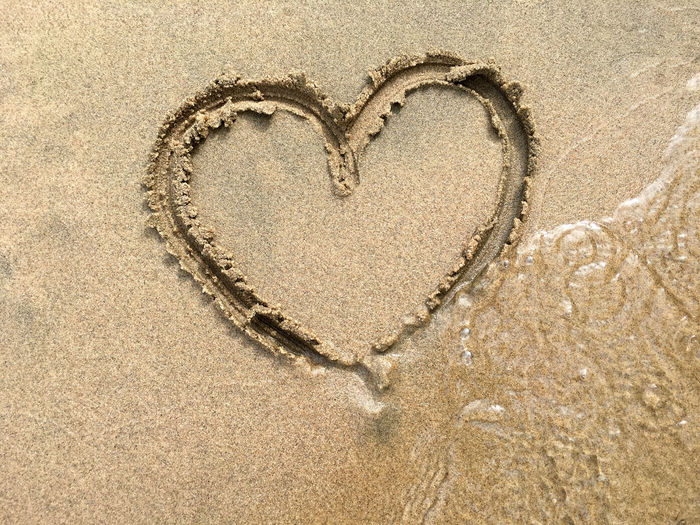 Heart shape on sand