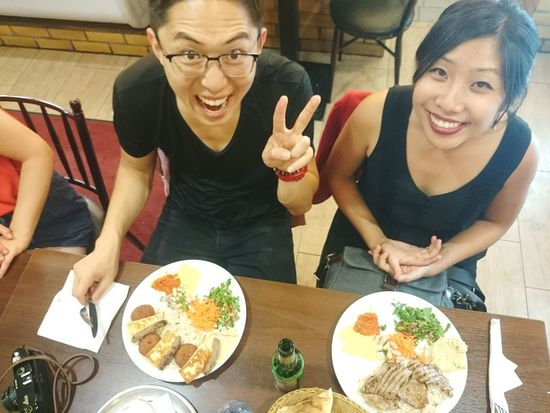 Eating Tecno Kofte with Asian tourists