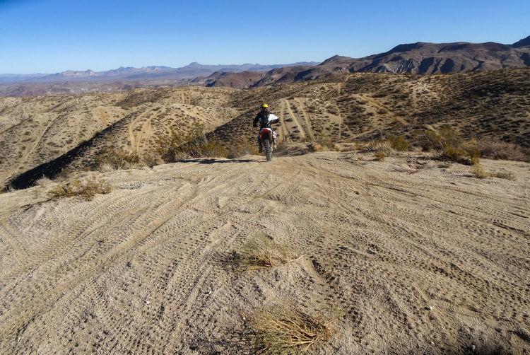 Rear view of man on arid landscape