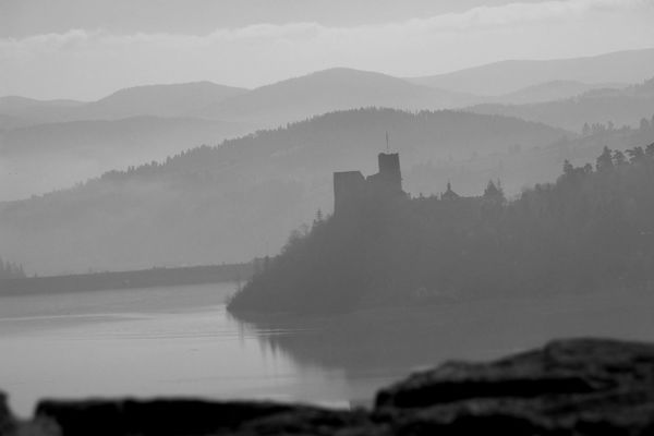 Castle Niedzica Poland Architecture Beauty In Nature Blackandwhite Building Exterior Built Structure Castle Day Fog History Mountain Nature No People Outdoors Scenics Sky Water