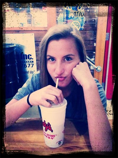 Having a blast on my daddy daughter date with Emma. Mmmmmm Rudy's BBQ. That's my princess :-)