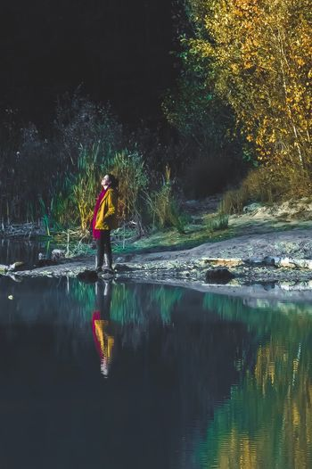 EyeEmNewHere Real People Water Reflection Full Length One Person Outdoors Tree River Leisure Activity Men Waterfront Lifestyles Nature Standing Beauty In Nature Night Oar People Second Acts Be. Ready.