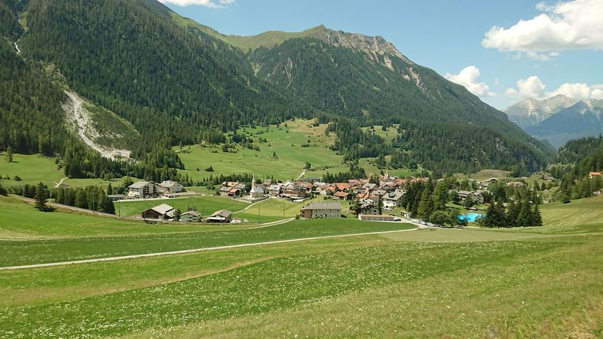 Alpine Farm Farmland Graubünden Alps Beauty In Nature Environment Field Grass Green Color Grisons Land Landscape Mountain Mountain Range Nature No People Outdoors Pool Scenics - Nature Swimming Pool Switzerland Village
