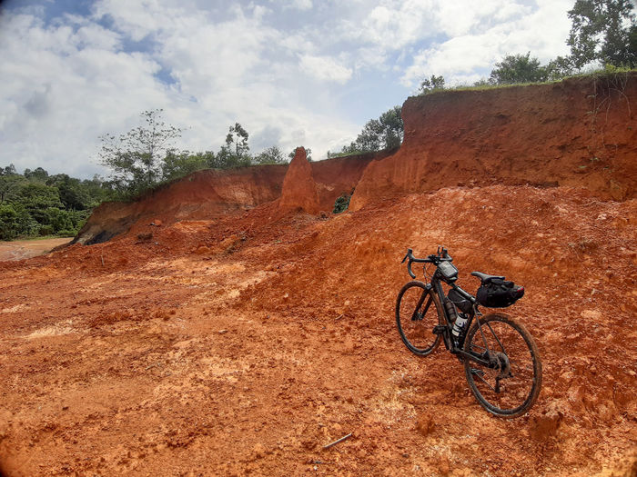 Bicycle on rock formation