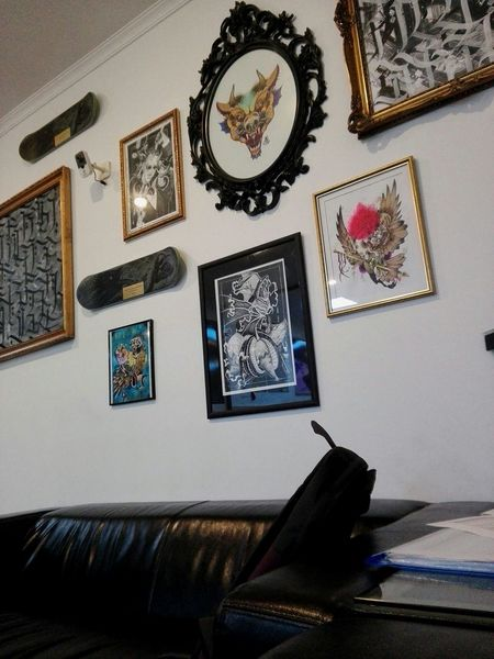 Tattoo Salon Day MyDay Tattoo Tattooart Weekend Saturday Picoftheday Photooftheday Like4like Mood Tattoo Design Tattooing Tattoolife Today :) Autumn Tattoo Art Traditional Tattoos Neo Traditional No People Indoors  Fall Likeforlike Alternativegirl Wall Art