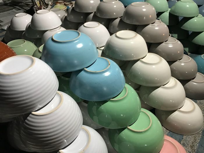 Large Group Of Objects High Angle View No People Still Life Abundance Indoors  Full Frame Stack Variation Multi Colored Ceramics Day Close-up Backgrounds Retail  Repetition Choice Arrangement White Color Ceiling