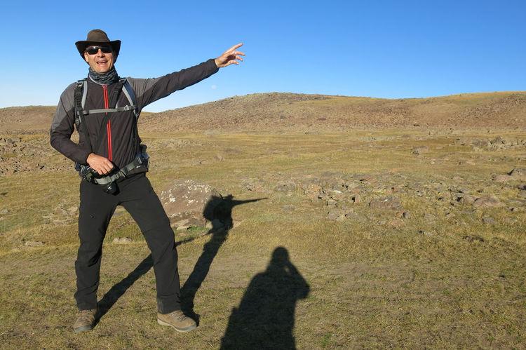 ...hoch auf den Südgipfel... ...up to the south summit... Mount Aragat Aragat Armenia Morning September Adventure Day Gesturing Kari Lake Lake Kari Land Leisure Activity Lifestyles Nature One Person Outdoors Real People Shadow Standing Sunlight Travel Destination Volcano W-armenien