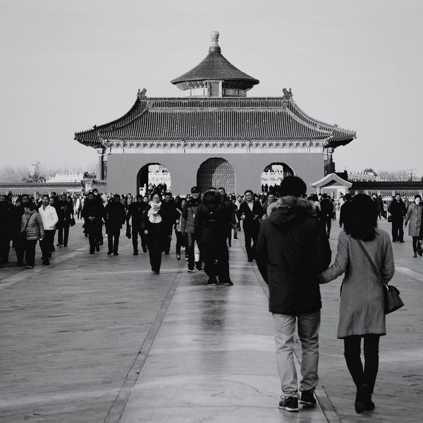 Large Group Of People Travel Destinations People Built Structure Crowd Architecture Adult Outdoors City Adults Only Sky Politics And Government Building Exterior Day Only Men Old Buildings Black And White King - Royal Person Temple Of Heaven Park Beijing, China FUJIFILM X-T10 Light And Shadow Ancient Travel Tourism