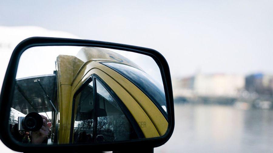 Reflection Of Semi-Truck In Mirror