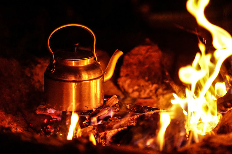 Iran Travel Destinations Travel Photography Nomadic Shia Community Travel Nomadic Life Flame Burning Fire Heat - Temperature Fire - Natural Phenomenon Night Household Equipment Wood - Material Kitchen Utensil Food And Drink Firewood Appliance Close-up Wood Wood Burning Stove Indoors  Bonfire Campfire