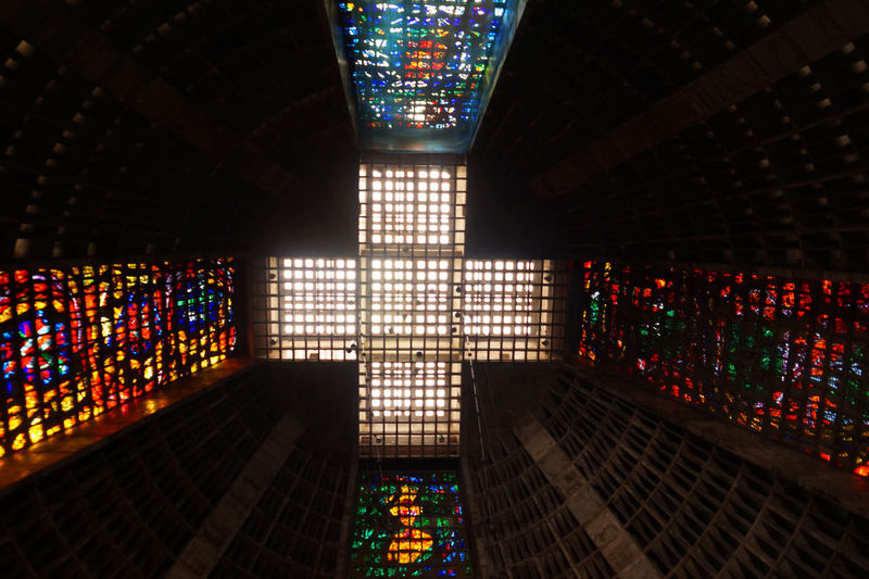 Rio de Janeiro cathedral roof Cathedral Church Rio De Janeiro Roof Architecture Built Structure Cealing Day High Angle View Illuminated Indoors  Multi Colored No People Pattern Vitraux