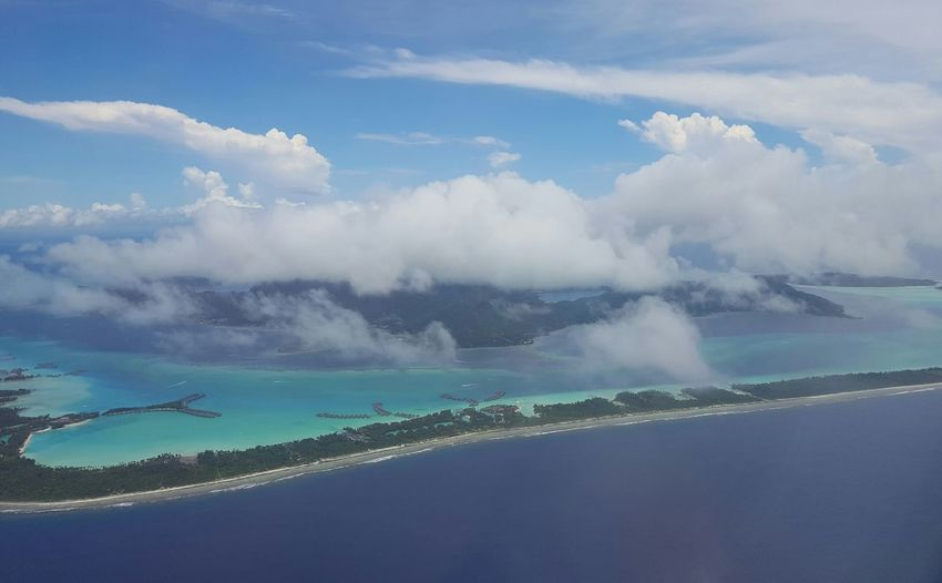 Nofilter Bora Bora  French Polynesia Plane View Clearestwaterintheworld BluestWater Water Blue Landscape No People Eagleview Paradise Flying High