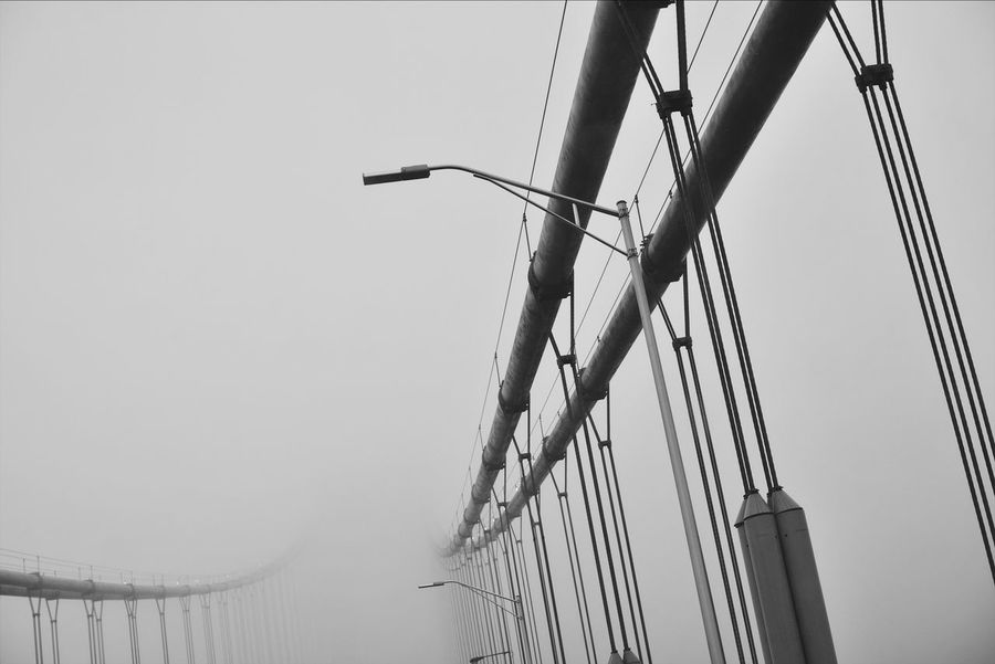 Foggy Fog Bridge Transportation No People Outdoors Low Angle View Built Structure Sky Architecture