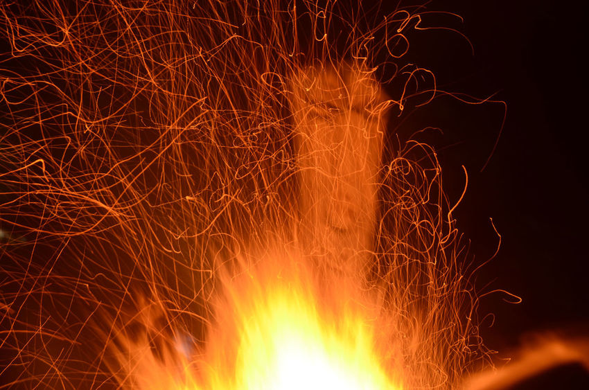 Burning Camp Fire Face Fire Flames Night Orange Sculpture Sparks Sparks Fly