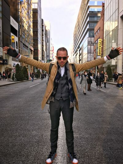Myself enjoying Ginza Japan Tokyo Tokyo,Japan Ginza Portrait One Person City Street Confidence  Suit Standing Well-dressed People Casual Business Casual Sneakers
