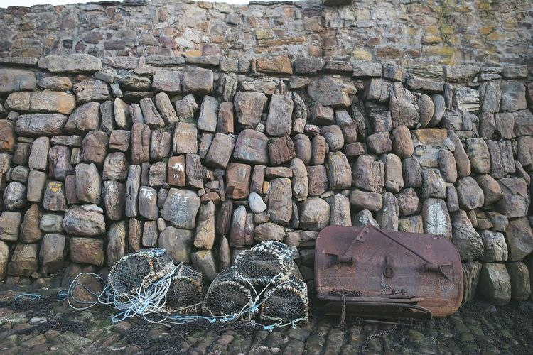 High angle view of stone wall