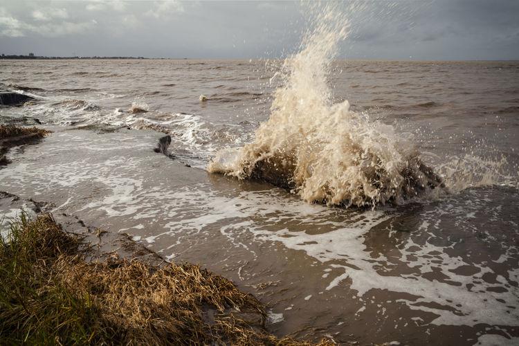 Storm Surge at Hest Bank Morecambe Bay  Storm Weather Climate Change Clouds Coastal Erosion Damaged High Tide Sea Sea And Sky Shoreline Storm Surge Tide Waves Waves Crashing