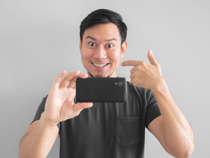 Smile Take Photo Smartphone Portrait Thai Asian  Man Technology Cellphone Photography Phone Photography