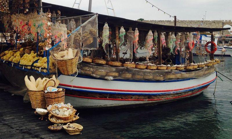 Gift Shop Harbor Marítim Souvenirs/Gift Shop Boat Built Structure Day Greece Mode Of Transport Nautical Vessel No People Outdoors Sky Souvenirs Sponge Transportation